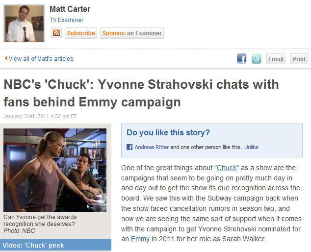 NBC's 'Chuck': Yvonne Strahovski chats with fans behind Emmy campaign