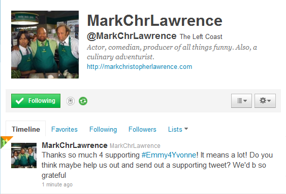 Mark Christopher Lawrence (Big Mike himself) supports Emmy4Yvonne